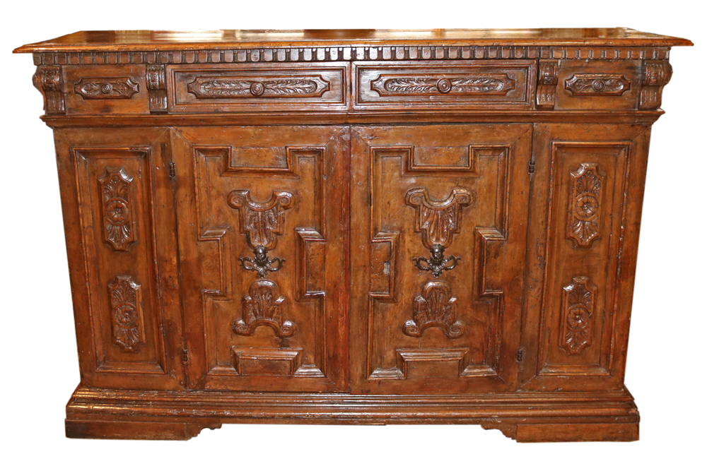 A Large and Impressive 17th Century Italian Walnut Credenza No. 4757