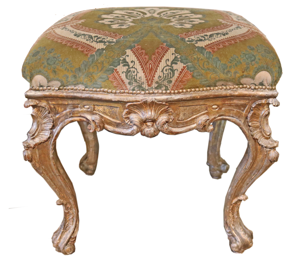 An 18th Century Italian Silver Giltwood Tabouret No. 4761