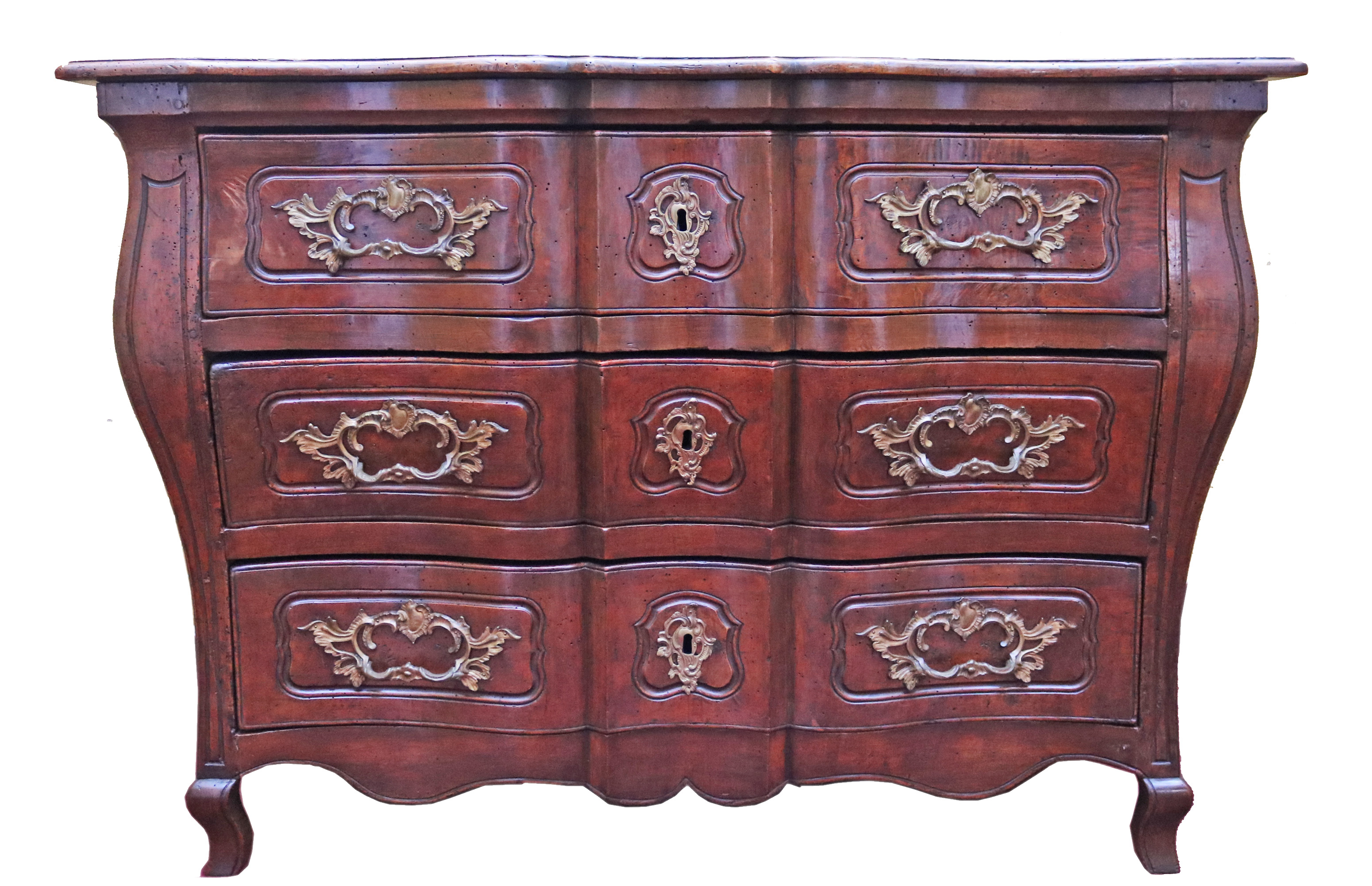 An Elegant 18th Century French Louis XV Walnut Commode en Tombeau No. 4765