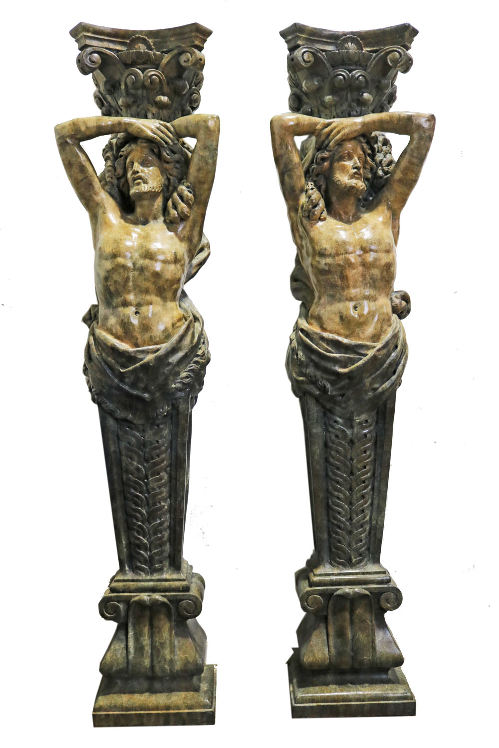 A Grand 19th Century Pair of Marbleized Metal Caryatids No. 4767