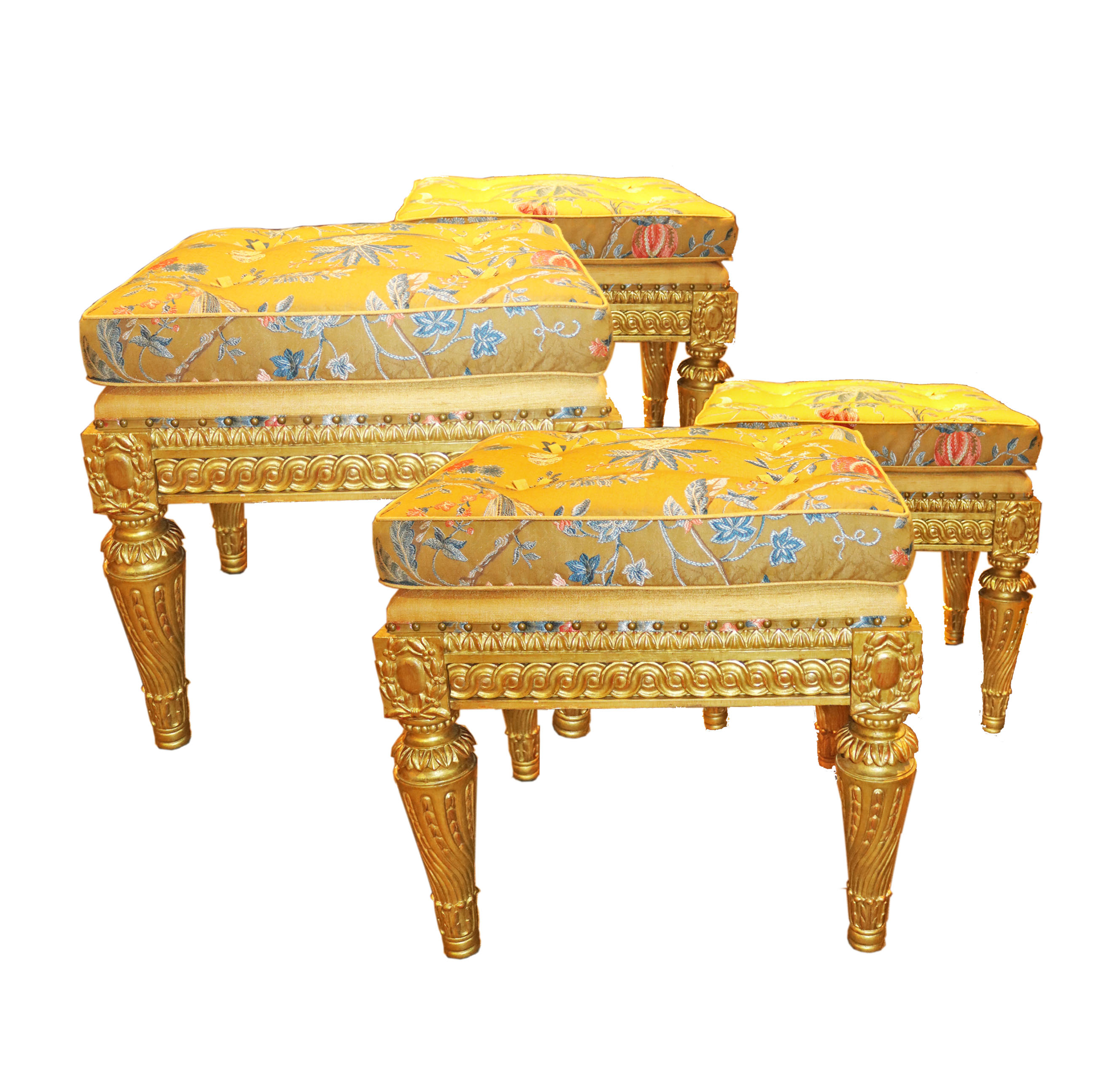 A Set of Four Elegant 19th C. Italian Louis XVI Giltwood Benches No. 4779