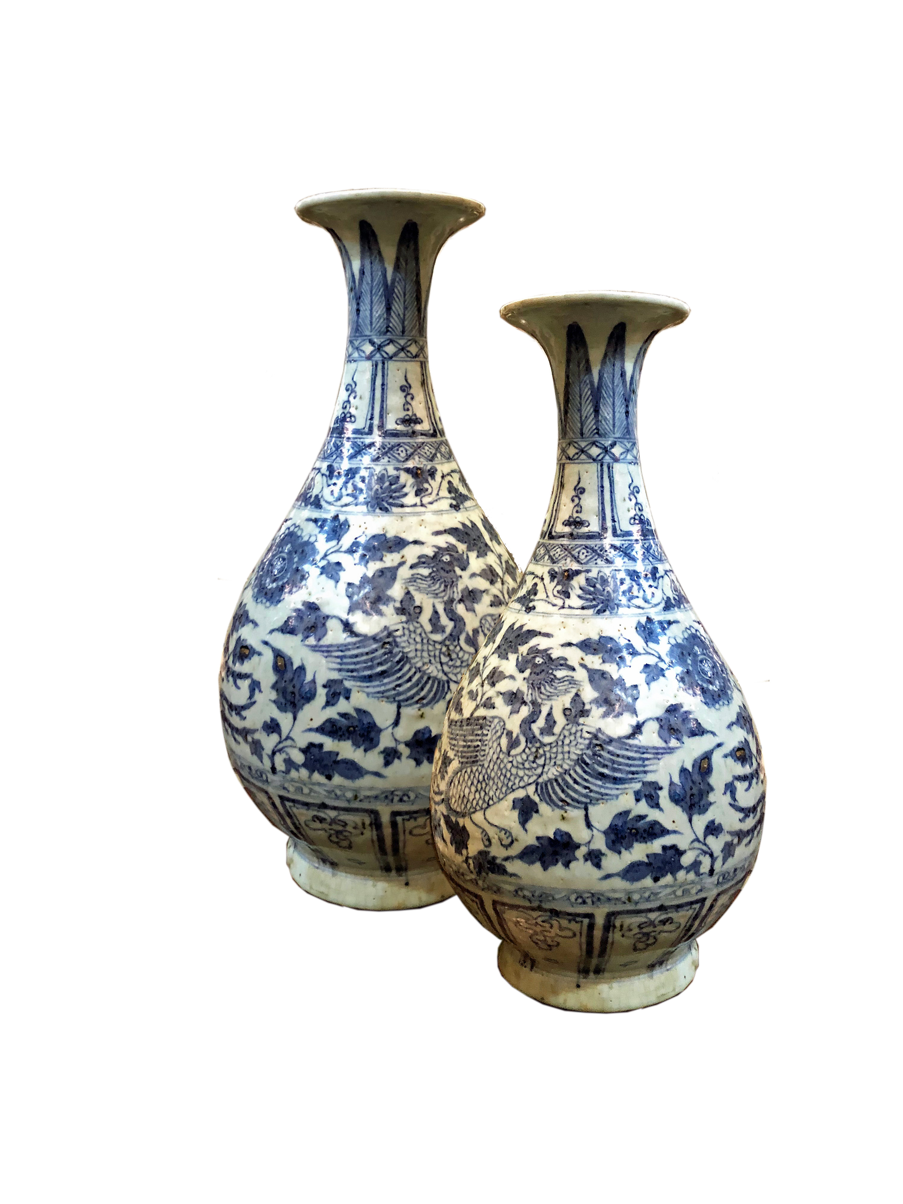 A Pair of Chinese Export Blue and White Porcelain Vases No. 4787
