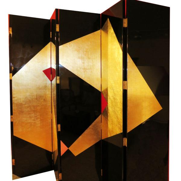 A Six-Panel Large Art Deco Lacquer Screen No.4289