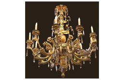 A 19th Century 10-Light Italian Giltwood, Wrought Iron and Crystal Chandelier No.4792