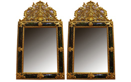 A Pair of 19th Century Green Tortoiseshell Mirror No.4796