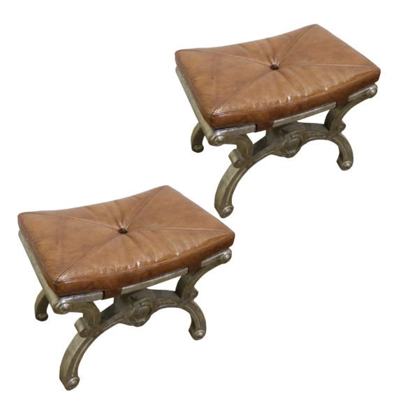 A Pair of 19th Century Italian Silver-Gilded Benches No.4803