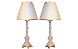 A Pair of Vintage Rock Crystal Candlesticks, Now Converted into Table Lamps No.4665