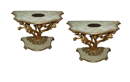A Pair of Italian Art Nouveau Shagreen and Brass Inlay Console No. 4833