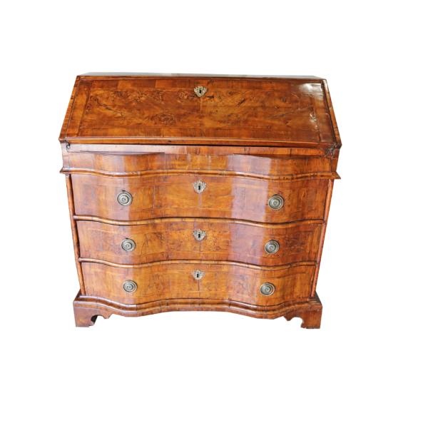 A Fine 1750 Italian Burl Walnut and Herringbone Inlay Slant Front Desk No. 4344
