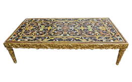 An Italian Pietra Dura Marble Coffee Table Top on a Later 22 Karat Gilded Wooden Base, No. 4846
